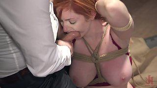 Busyt and curvy redhead babe Lauren Phillips ass fucked in bondage