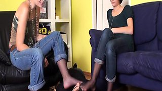 Foot Girls order guys to lick their feet