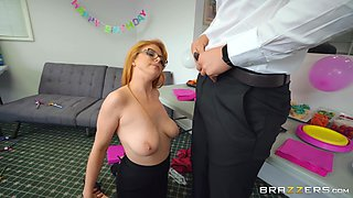 Redhead office slut Penny Pax fucks her boss in front of a coworker