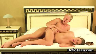Huge cock nailing virgin pussy from behind