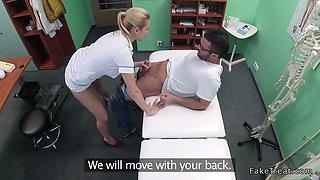 Hot blonde nurse fucks repairman