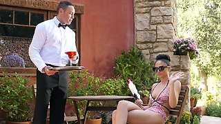 Brunette beauty Ariana Marie fucks a handsome waiter