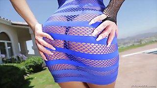 russian milf rita rush poses in fishnet see-through dress