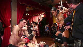 Tied up bitch Aiden Starr gets her pussy punished in public