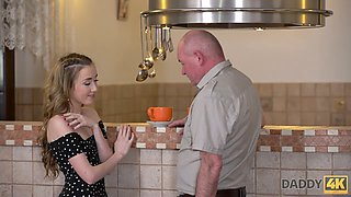 Pretty blond head with small tits Jessi is lured by bald older man for sex