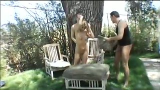 Super pale and hot cock hungry blonde bitch takes double penetration