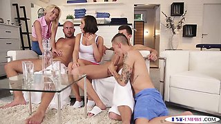 Bisexual orgy hunks pounding pussy and ass