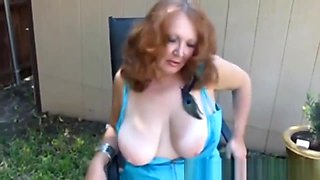 Hot Redhead Mature Amateur Cougar Smoking Solo
