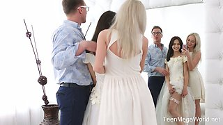 Horny designer fucks pretty hot bride Michelle Can and her sweet girlfriend