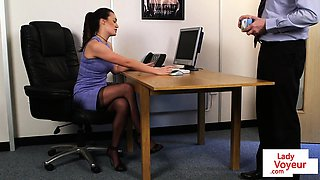 British boss voyeur commanding her sub to tug