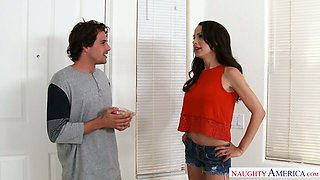 Oversexed milf with huge fake boobs McKenzie Lee seduces one young dude