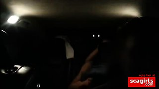 Cuckold drives car and his wife fucking the bull at the back