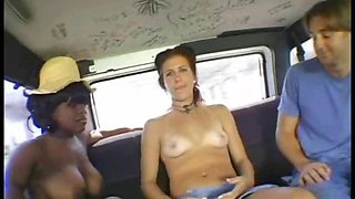 Brunette babes are ready for some group sex in the car