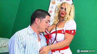 Big titty blonde nurse gets cum all over her breasts