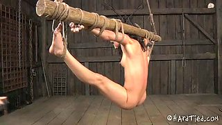 Slim brunette is restrained and tied up before pussy punishing
