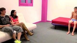 Lustful amateur brunette teen cuckolds her nerdy boyfriend