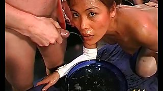 Horny dirty asian slut gets sperm