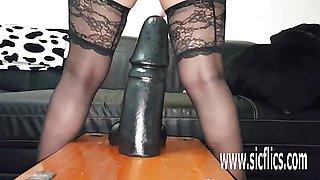 KINKY Sarahs colossal dildo fucking orgasms