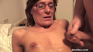 Granny with glasses and a nipple piercing getting nailed in the twat