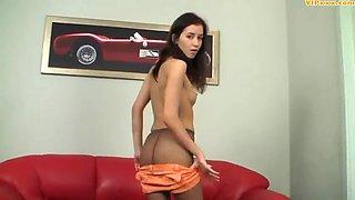 Cute teen in brown pantyhose
