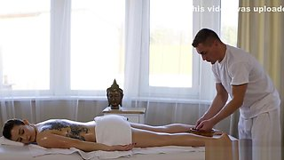 Massage Rooms Tattooed Italian brunette Marica Chanelle oily fuck session