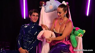 Busty Mistress in Latex Pegging Guy