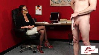 Voyeur spex secretary instructing tugging sub