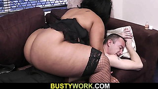 Huge melons ebony secretary in fishnets