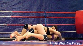 Facesitting euro dyke enjoys wrestling