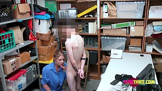 Skinny dude is subdued by female officer into stuffing her coochie