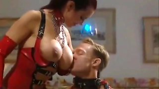 slutty dominatrix latex threesome facial cumshot