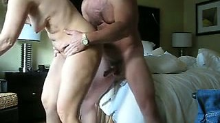 Mature couple is caught fucking in steamy classic doggy position