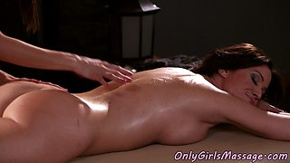 Lesbian masseuse sixtynines busty MILF client