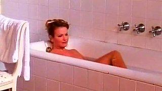 Delightful redhead French babe in the bathtub gets seduced easily
