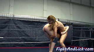 Wrestling eurobabes licking each others pussy