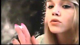 Beautiful blonde girl smoking her VS120's... Mika
