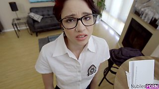 Cadey Mercury is nerdy coed gal who is really good as she rides dick on top