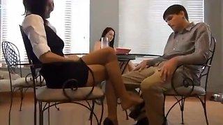 Estate agent pantyhose footjob