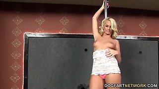 Emily Austin sucks black gloryhole cock