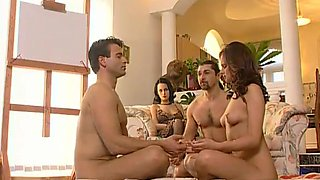 Brunettes Michelle Wild and Vanessa Virgin Fucked in Foursome