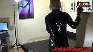German crossdresser by strap on blowjob and anal plug