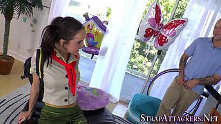 Teen scout strapon fucks