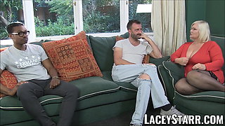 LACEYSTARR - Leather clad granny gets interracial spitroast