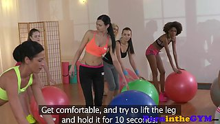 Lesbian fitness babes trio after workout