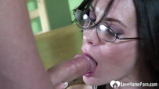 Hottie with glasses gets plowed without mercy