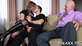 Delightsome blonde works two large dicks in amateurs show