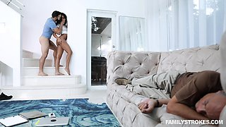 Latina Claire Black pounded and cum sprayed next to her sleeping dad