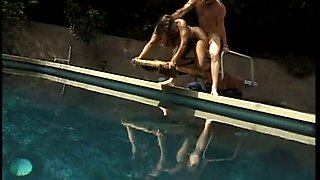 Big breasted dumpy ebony blondie gets doggy pose loped in pool area
