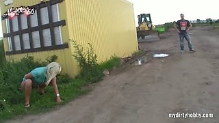 German amateur MILF fucking at construction area