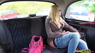 Curvy blonde woman gets slammed in the back of a taxi